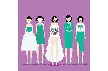 Bride with Bridesmaids. Vector