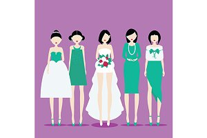 Bride with Bridesmaids. Vector