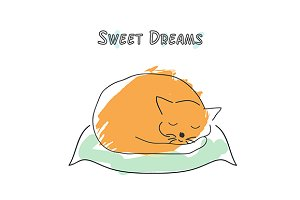 Cute sleeping cat. Vector