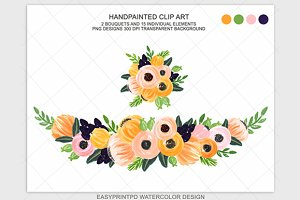 Hand Painted Peach Flower Clipart