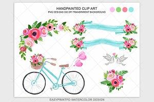 Wedding blue pink bike clip art