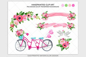 Pink wedding bicycle grapchic