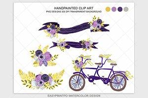 Purple Bike Bicycle Clip Art Set
