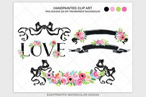 Back and Pink Rustic wedding clipart