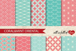 Coral Mint Japanese Background Paper
