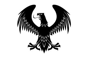 Medieval black eagle heraldic icon