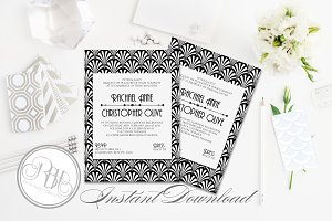 Art Deco Wedding Invitation-Sienna
