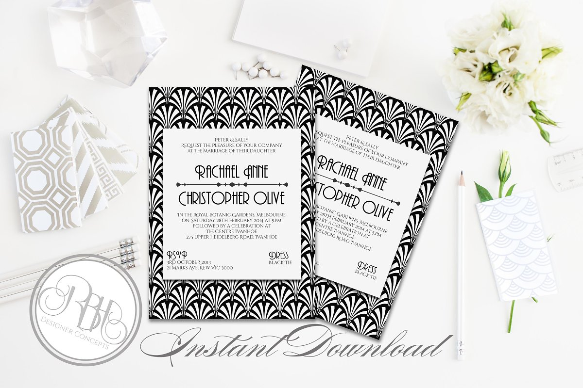 Art Deco Wedding Invitations.Art Deco Wedding Invitation Sienna