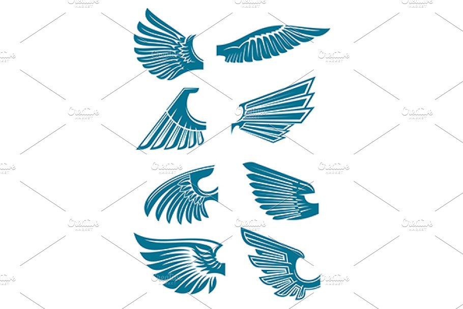 Open bird wings icons