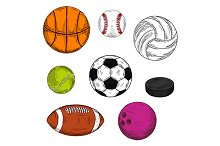 Sketched sporting balls
