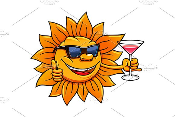 Sun with cocktail