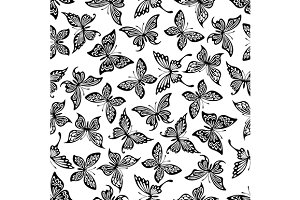 Butterflies seamless pattern