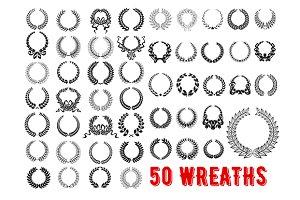 Vintage wreaths heraldic elements