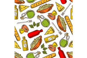 Seamless italian food pattern
