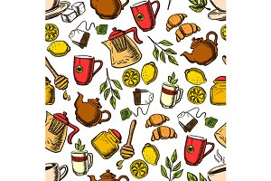 Herbal, black and green tea pattern