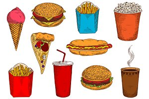 Takeaway fast food sketches