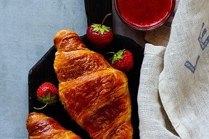 Croissants and strawberries