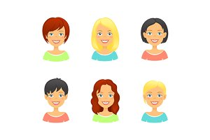 Woman hair styles of different types