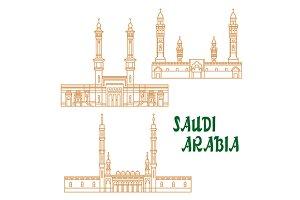 Saudi Arabia landmarks icons
