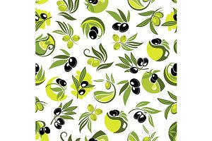Olive tree branches seamless pattern