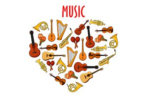 Heart with musical unstruments