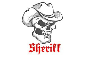 Angry skull of sheriff or cowboy
