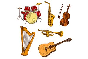 Musical instruments color sketches