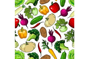 Seamless pattern of fresh veggies