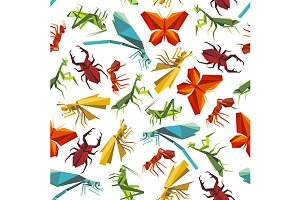 Paper origami insects pattern