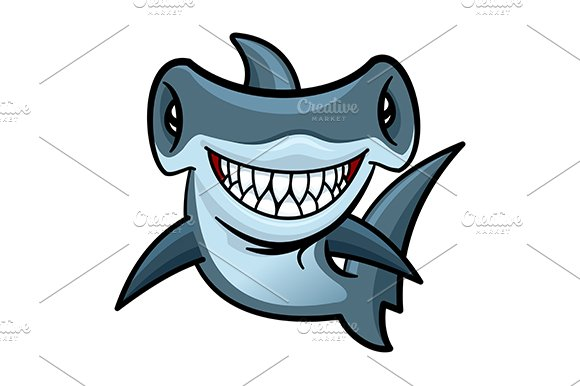 Cartoon hammerhead shark ~ Graphics ~ Creative Market