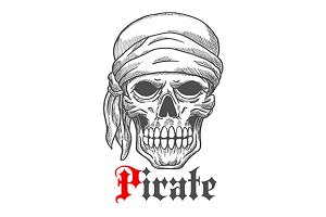 Creepy pirate sailor skull