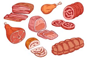 Cooked meat delicatessen sketches