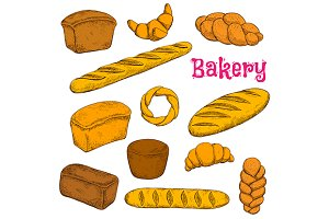 Pastries and bread sketches
