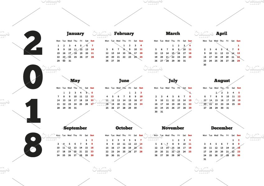 calendar on 2018 year a4 size graphic objects creative market