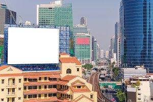 blank billboard in city for BG