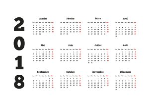 2018 year simple calendar on french