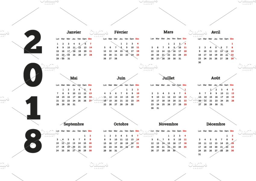 2018 year simple calendar on french graphic objects creative market