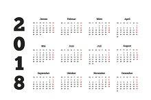 2018 year simple calendar on german