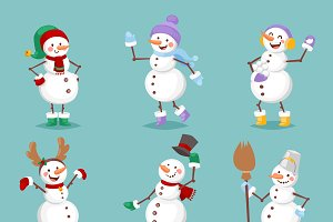 Cartoon snowman vector set