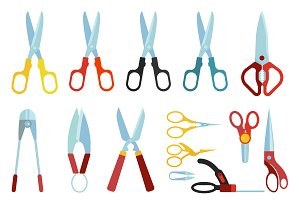 Scissors vector set