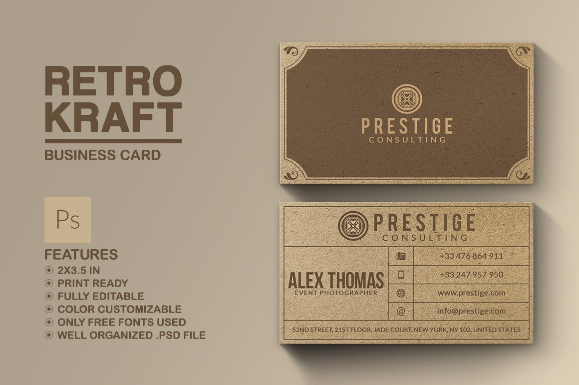 Retro Kraft Business Card ~ Business Card Templates ~ Creative Market
