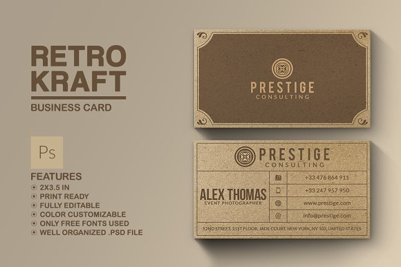 Retro kraft business card business card templates creative market wajeb