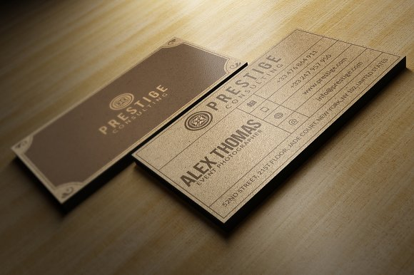 Retro kraft business card business card templates creative market reheart Images