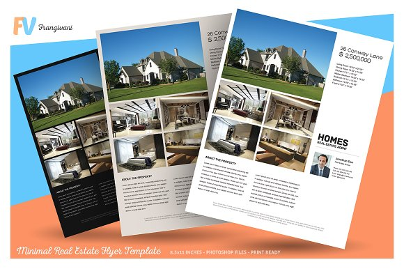 minimal real estate flyer template flyer templates creative market