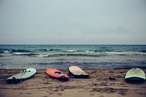 Surfboards on beach