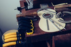 Guitar workshop with tools
