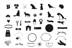 Set of vector black pet icons