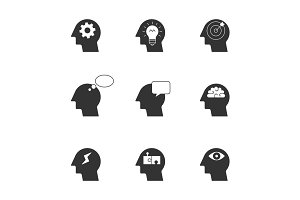 Human thinking process icons