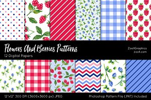 Flowers And Berries Digital Papers