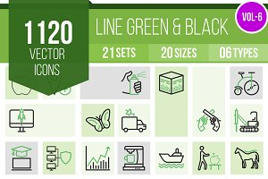 1120 Line Green & Black Icons (V6)